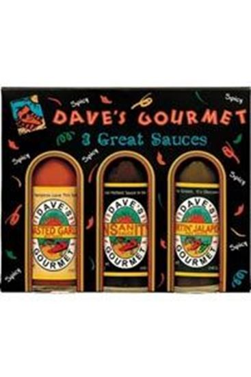 Picture of Dave's Gourmet 3 Great Sauces Cardboard 3 Pack