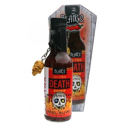 Picture of Blair's Ultra Death Sauce in a coffin